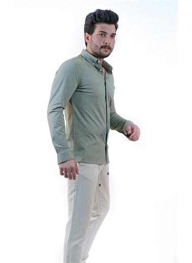 Boris Becker Uzun Kol Polo Yaka Yaka Düğmeli Göğüs Nakışlı Erkek Gömlek Yeşil